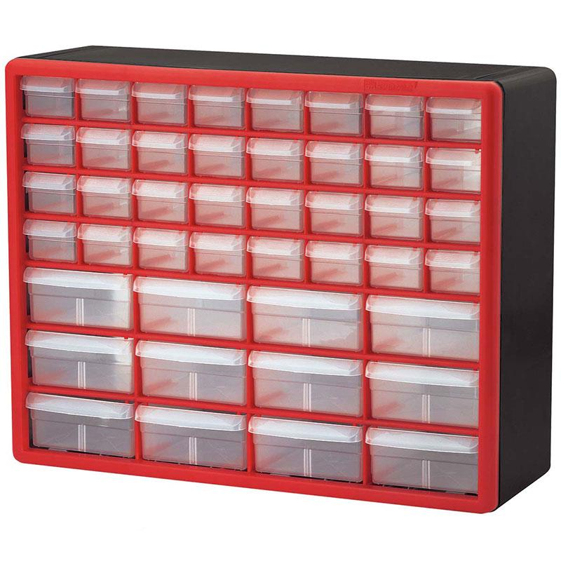 10144 Red 44 Drawer Plastic Storage Cabinet