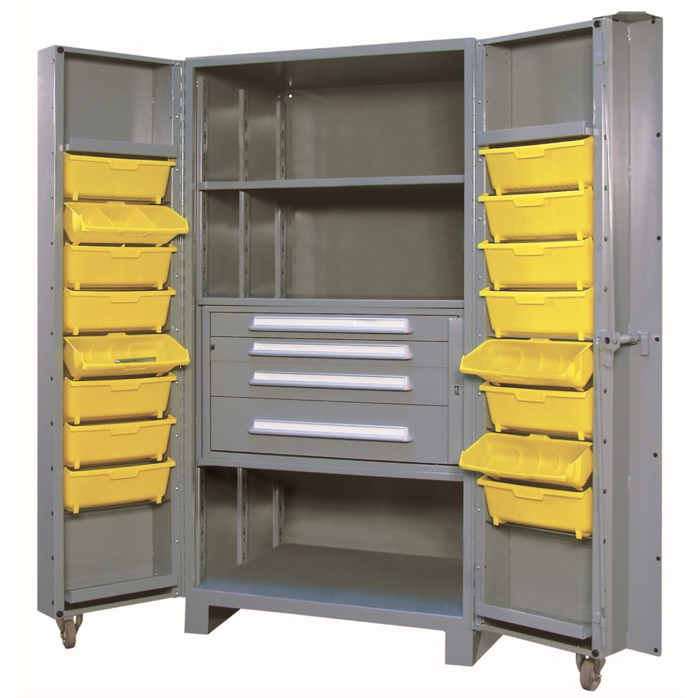 Lyon 1104F All-Welded 39 inch Wide Steel Maintenance Cabinet with 6 Drawers and 18 Bins