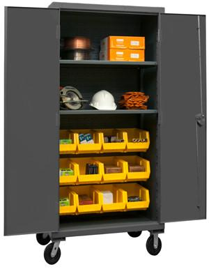 Durham 12 Gauge Mobile Cabinet with Bins and 2 Shelves