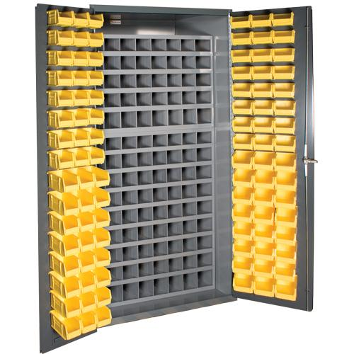 Durham 36 Inch Wide Small Parts Storage with 112 Steel Pigeon Hole Bins Model No. 3501-DLP-72/40B-96-95