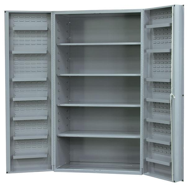 Durham 48 Inch Wide x 24 Inch Deep Cabinets with 4 Adjustable Shelves and 14 Door Shelves Model No. SJC-DLP-4S-14DS-95
