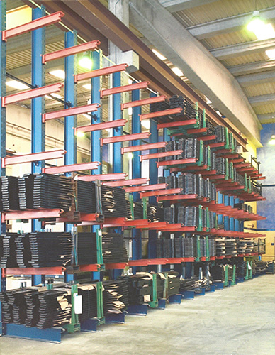 40' High Cube Tubular Cantilever Racks Material Flow