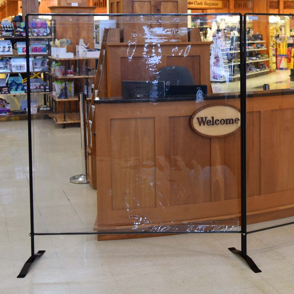 5' Foot Wide Social Barrier Clear Vinyl with Standing Base