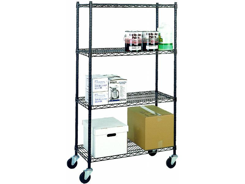 Stromberg 69 Inch High 4 Shelf Mobile Black Wire Units