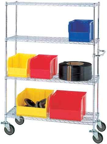 Stromberg 69 Inch High 4 Shelf Mobile Chrome Wire Units