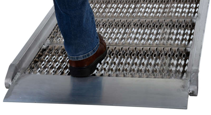 Vestil Aluminum Grip-Strut Walk Ramps with Adjustable Height Wheel