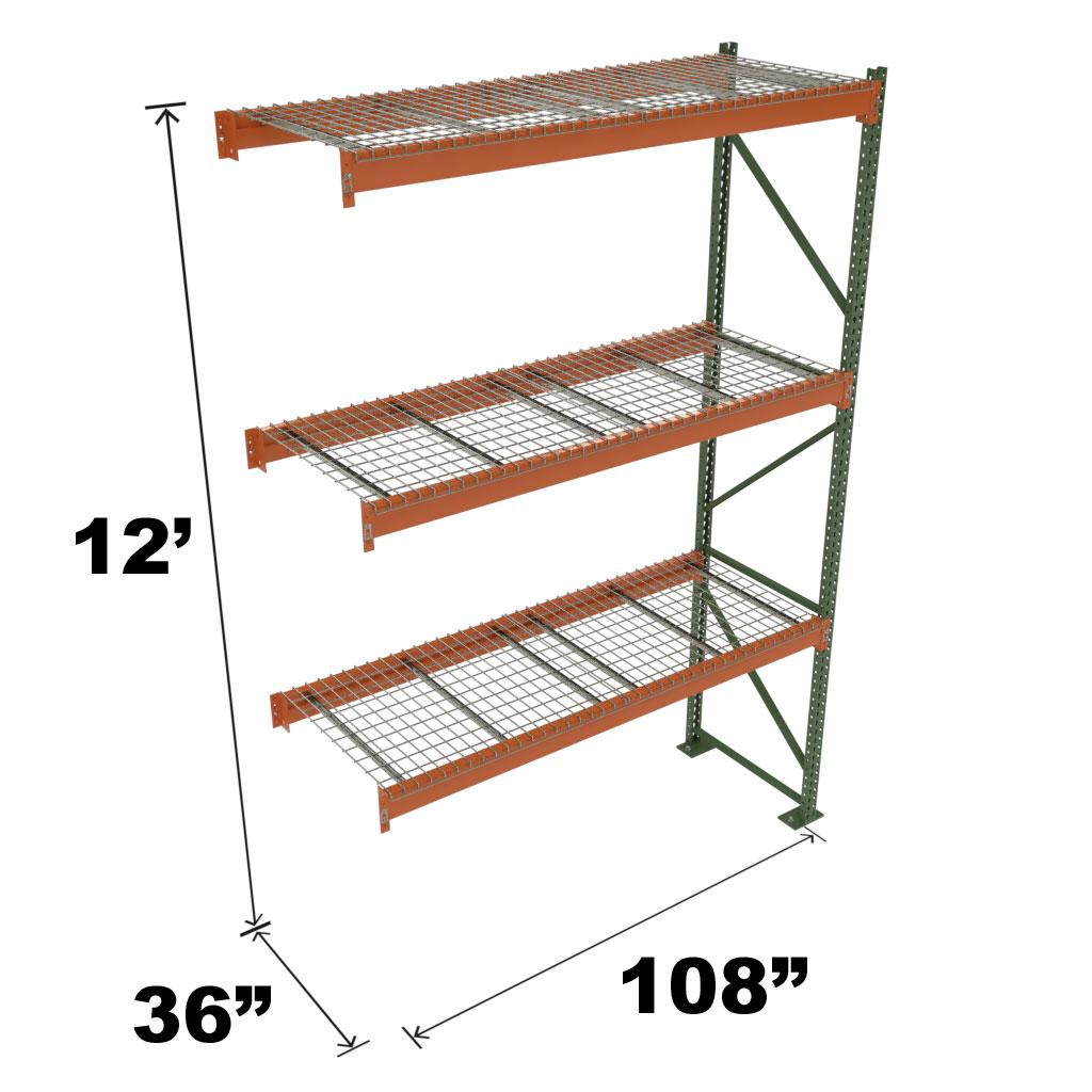 Stromberg Teardrop Storage Rack - Add-on Unit with Deck - 108 in x 36 in x 12 ft
