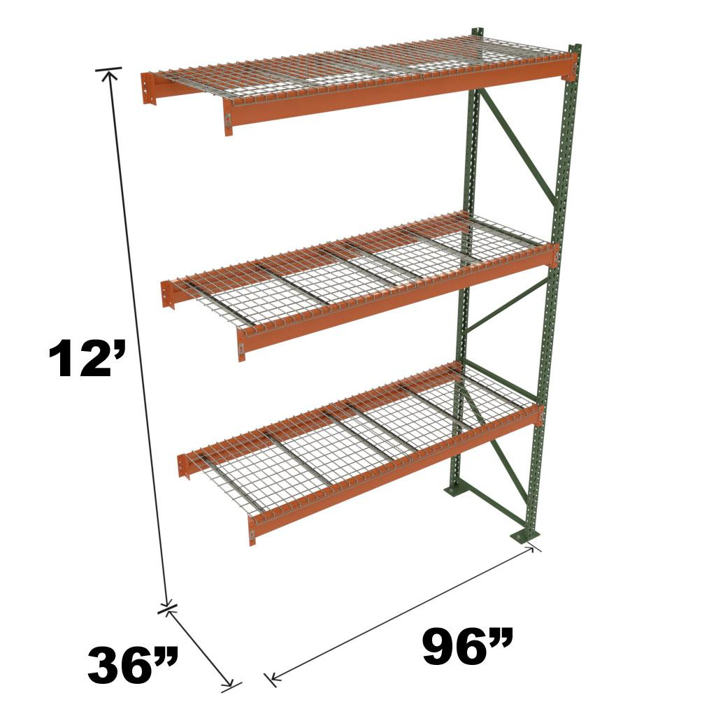 Stromberg Teardrop Storage Rack - Add-on Unit with Deck - 96 in x 36 in x 12 ft