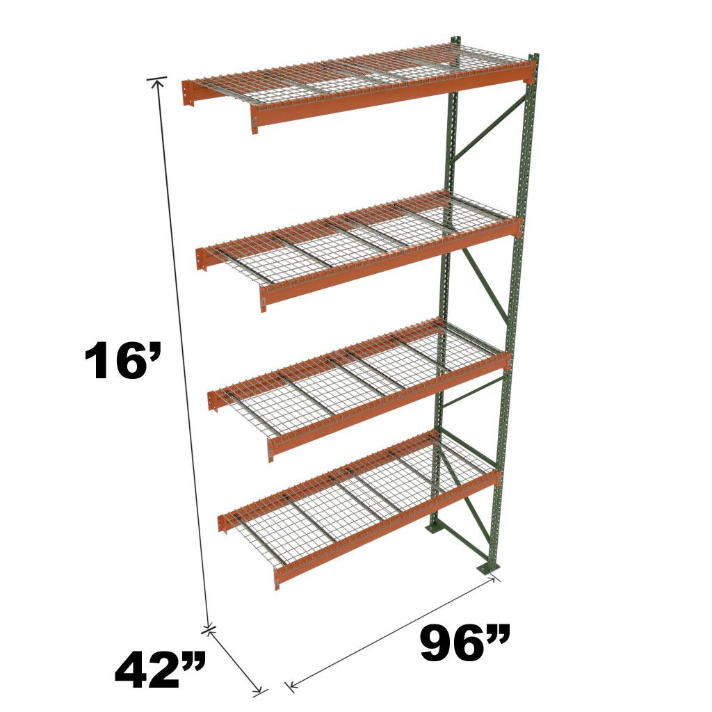 Stromberg Teardrop Storage Rack - Add-on Unit with Deck - 96 in x 42 in x 16 ft