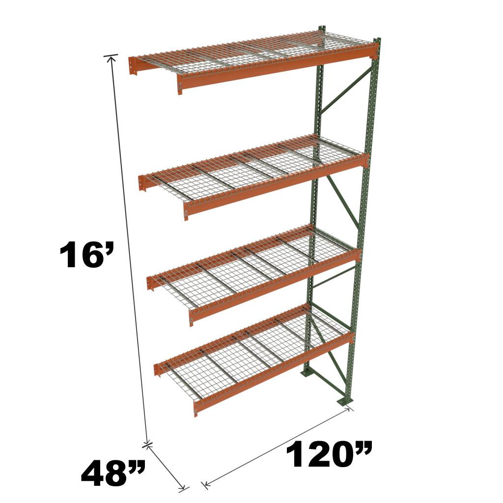 Stromberg Teardrop Storage Rack - Add-on Unit with Deck - 120 in x 48 in x 16 ft