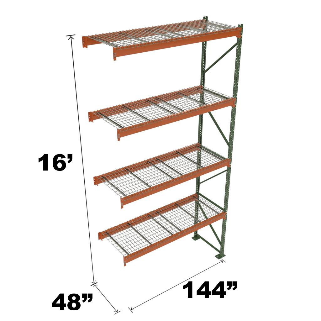 Stromberg Teardrop Storage Rack - Add-on Unit with Deck - 144 in x 48 in x 16 ft