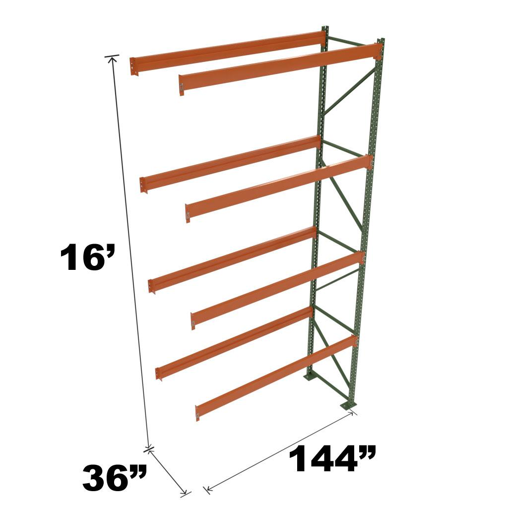 Stromberg Teardrop Storage Rack - Add-on Unit without Deck - 144 in x 36 in x 16 ft
