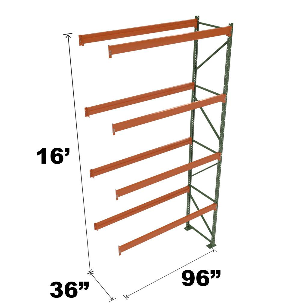 Stromberg Teardrop Storage Rack - Add-on Unit without Deck - 96 in x 36 in x 16 ft