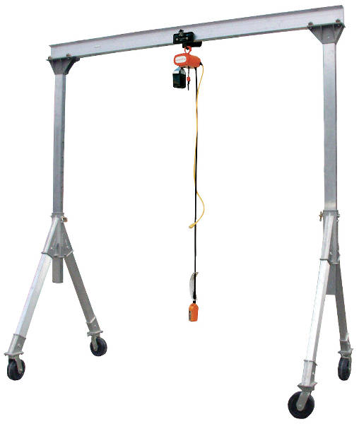 Vestil Adjustable Height Aluminum Gantry Crane with Pneumatic Casters