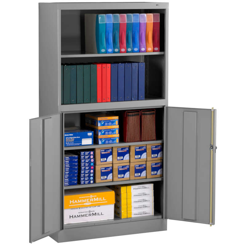 Tennsco Storage Cabinet Bookcase Combination Model No. BCD18-72