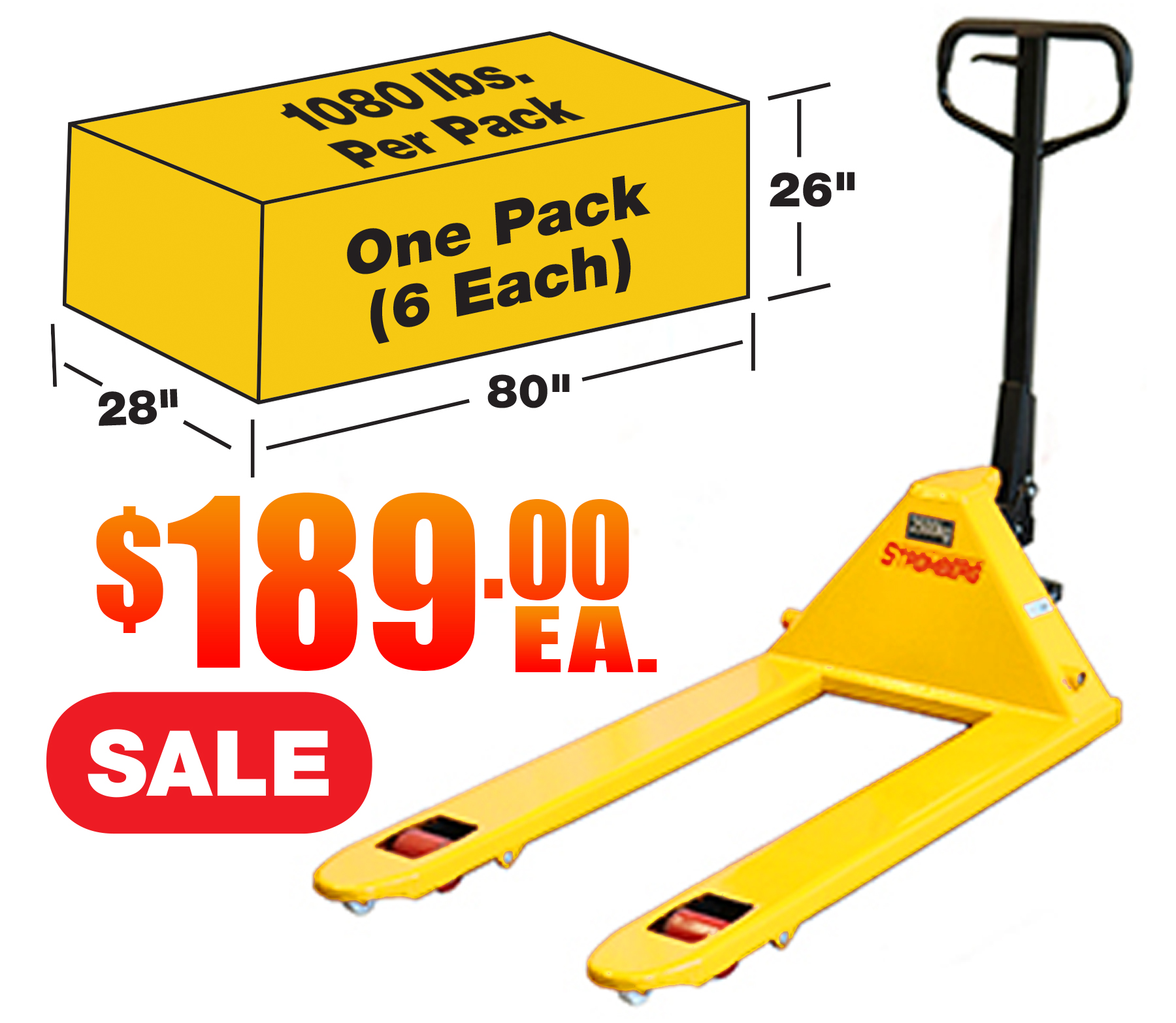 Stromberg CPT2748YS Yellow Pallet Jack 6 Pack Sale