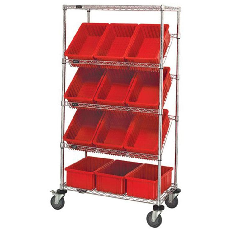 Quantum Chrome Slanted Wire Shelving - Stationary