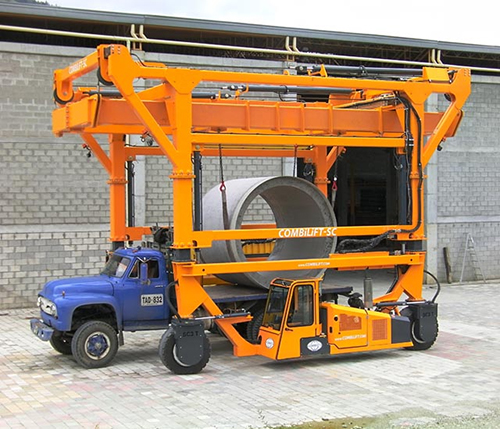 Combilift Gantry Crane Arrangement Moving Concrete Pipe