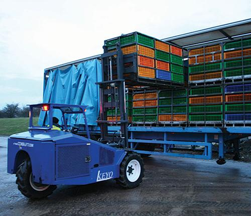 Combilift Moving Poultry Crates From A Full Container