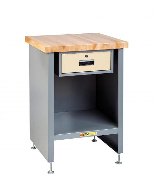 Little Giant Enclosed Table with Drawer and Butcher Block Top Model No. WTC-2424-LL-DR