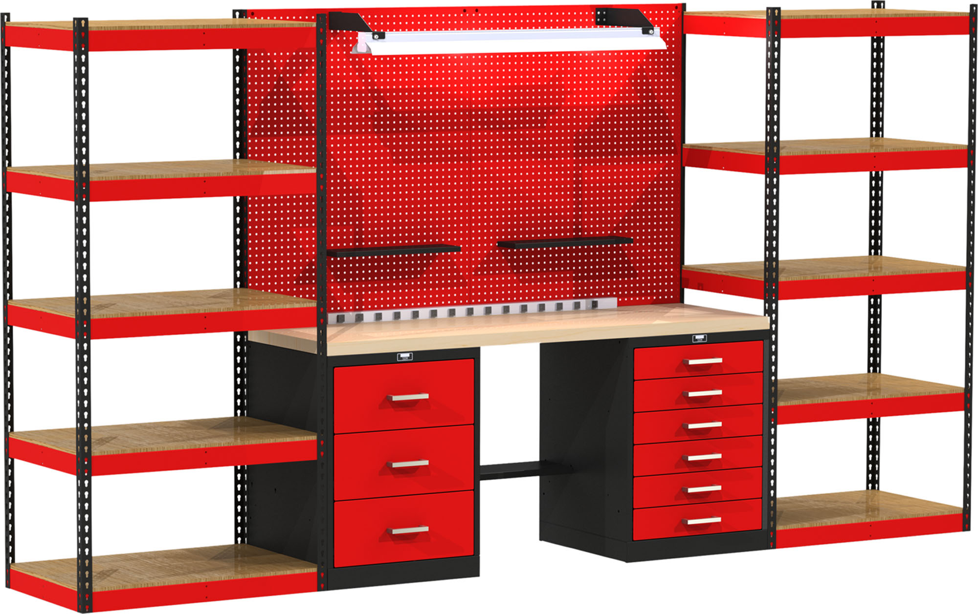 Fort Knox Modular Utility Workbench - Open Storage System With Wood Top, Model FKOPENSTOR-LG-M