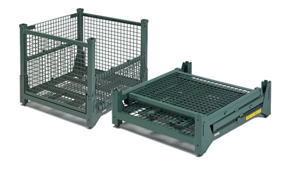 Steel King Hold 'n Fold Collapsible Wire Mesh Containers, Shown Set-up and Folded Down