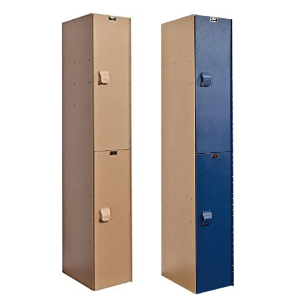 Hallowell Aquamax Solid Plastic Stock Lockers Double Tier 1-Wide