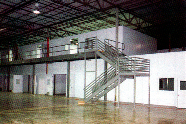 Two Story In Plant Office with Catwalk Structure and Stairs