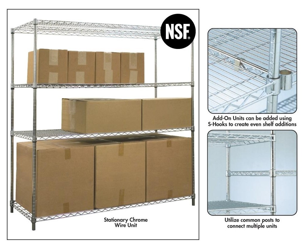 Jaken Stationary Chrome Wire Shelving