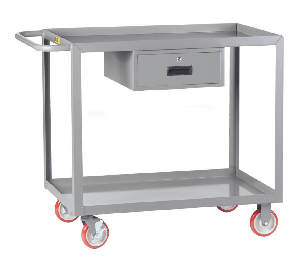 Little Giant LGL-2436-BK-DR Welded Service Cart with Drawer