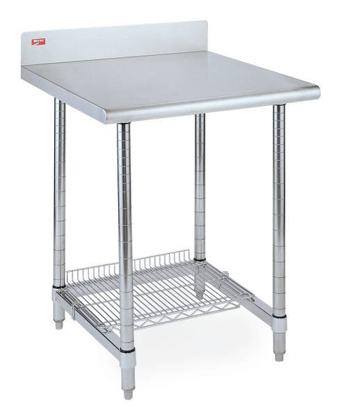 Metro Lab Tables with Stainless Backsplash and 3-Sided Frame (with optional accessory wire shelf)