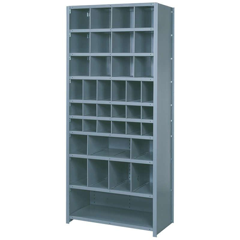 "Lyon 38-Compartment Bin Shelf Unit - 36"" x 12"" x 84"""