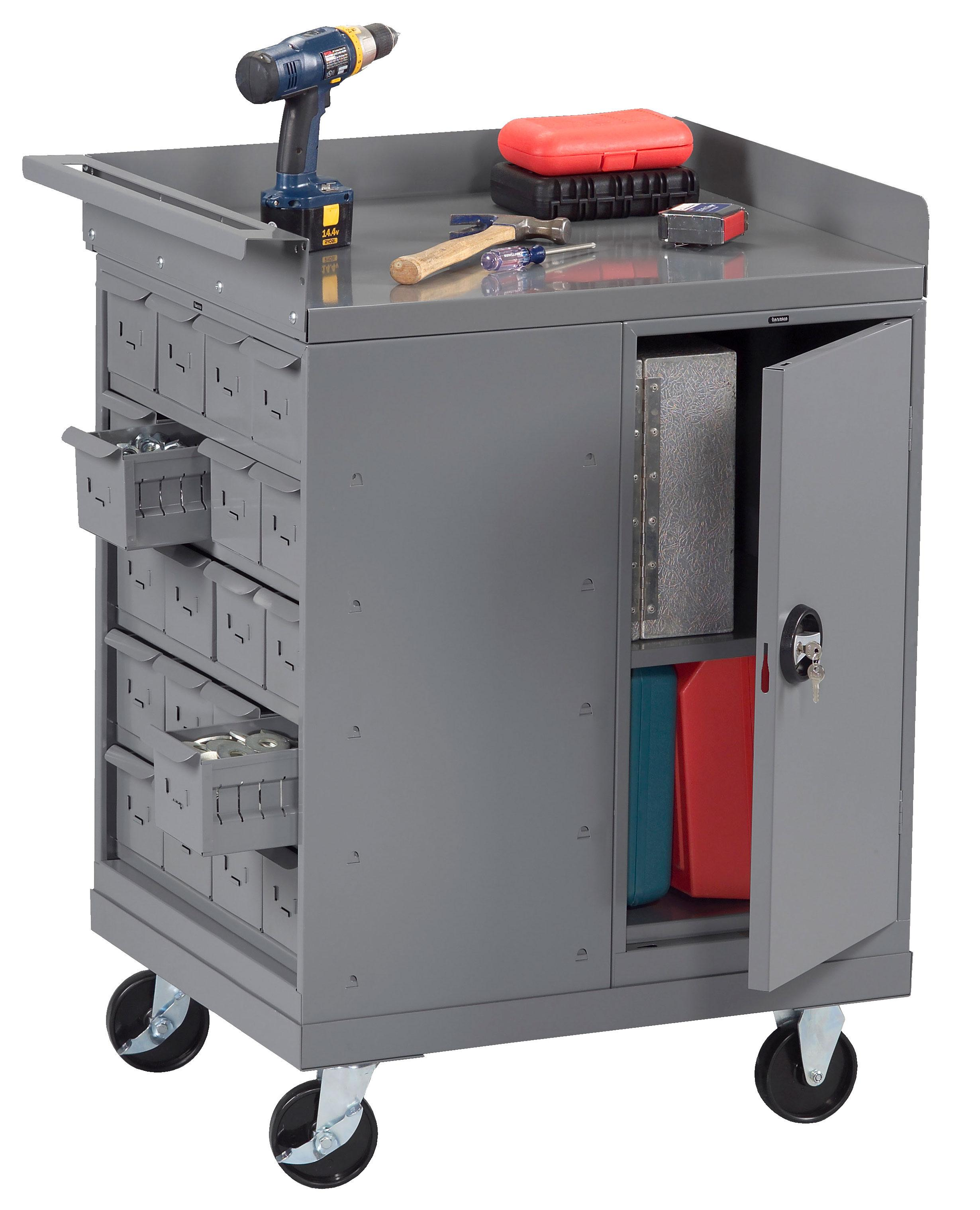 Tennsco MB-2530-BB Mobile Workbench with 20 Bins and Cabinet