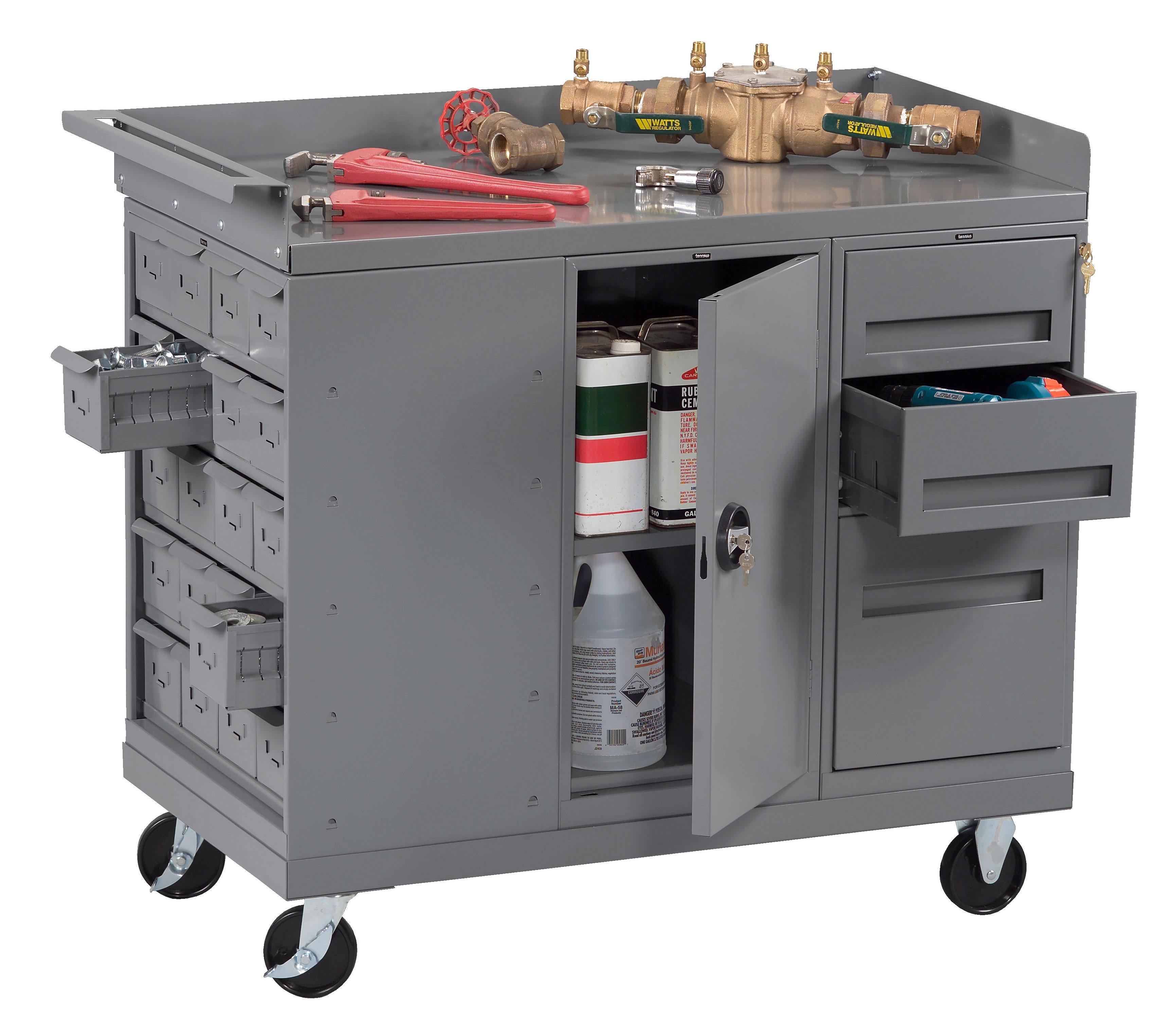 Tennsco MB-3-2545 Mobile Workbench with Cabinet and 3 Drawers and 20 Bins