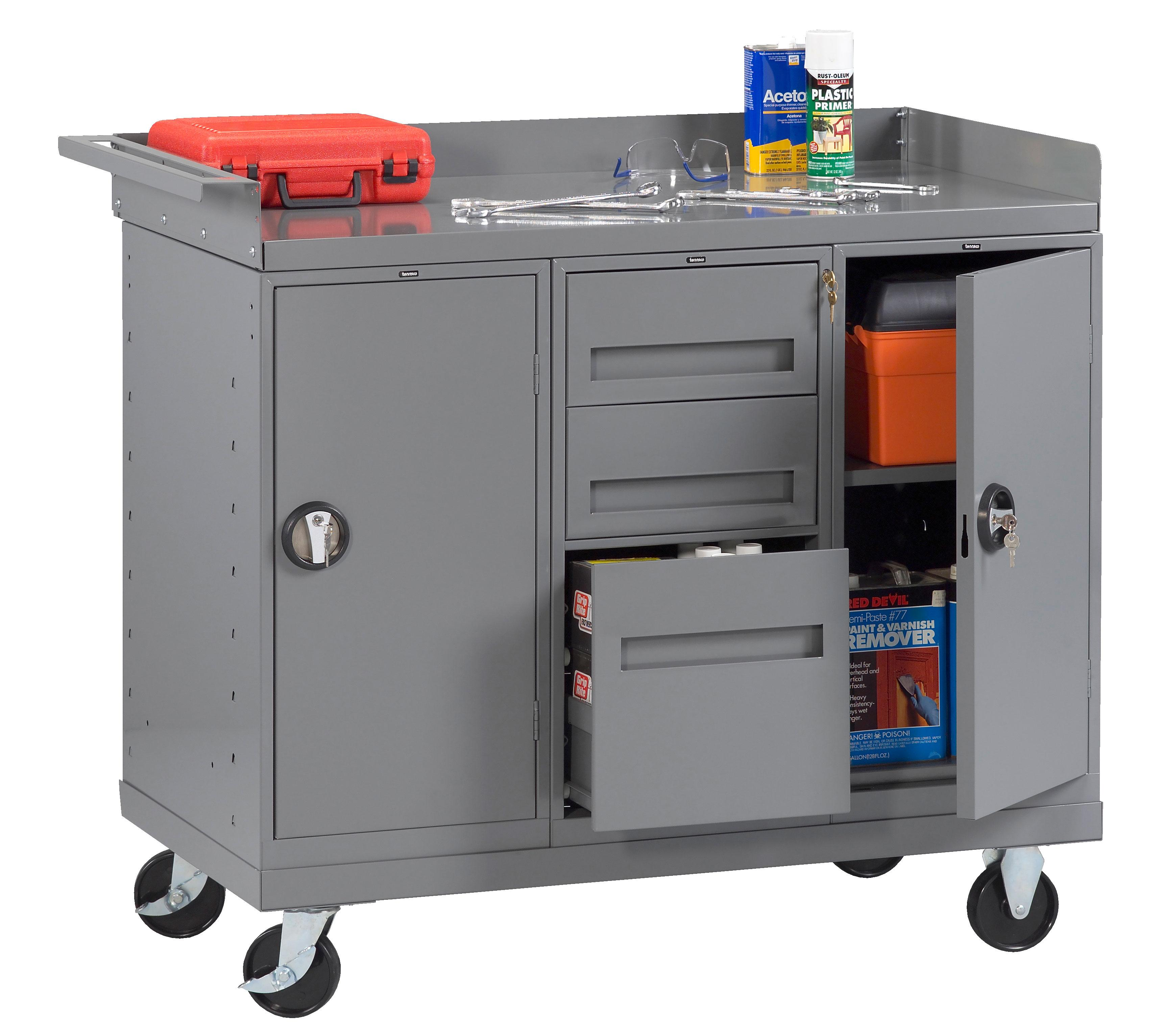 Tennsco MB-6-2545 Mobile Workbench with 2 Cabinets and 3 Drawers