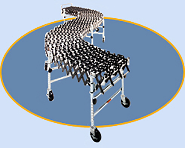 "Medium Duty Accordion Wheel Conveyors - 24"" Widths - Black Plastic Wheels"