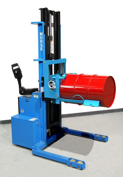 Model 910 power-propelled walkie stacker allows you to rack an 800 lb. drum up to 10.5 feet high!
