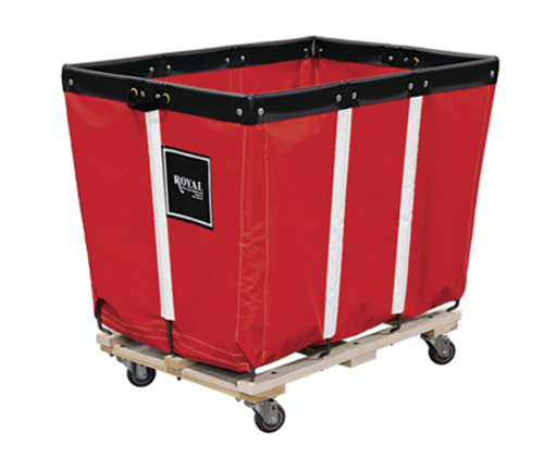 Permanent Liner Vinyl Basket Truck with Wood Base - 12 Bushel