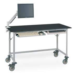 Metro Polymer Worktables with Black Phenolic Top and 3-Sided Frame Model No. LTM60XUPB3 (shown with accessories)