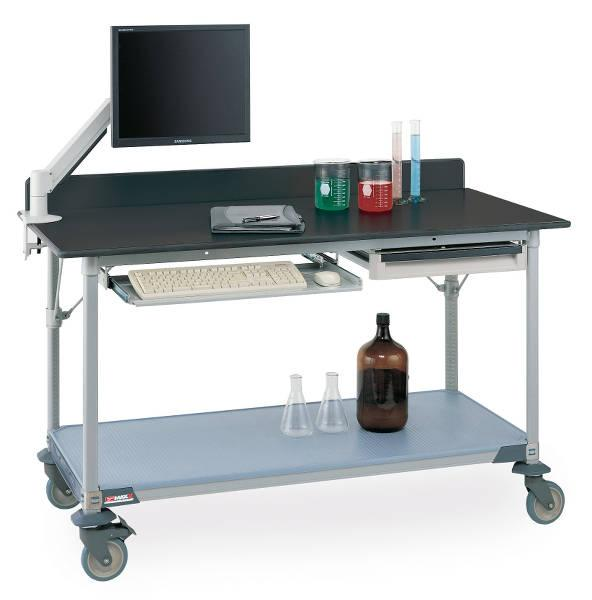 Metro Polymer Worktable with Black Phenolic Top and Solid MetroMax i Shelf Model No. LTM60XPB3 (shown with backsplash, accessories and casters)