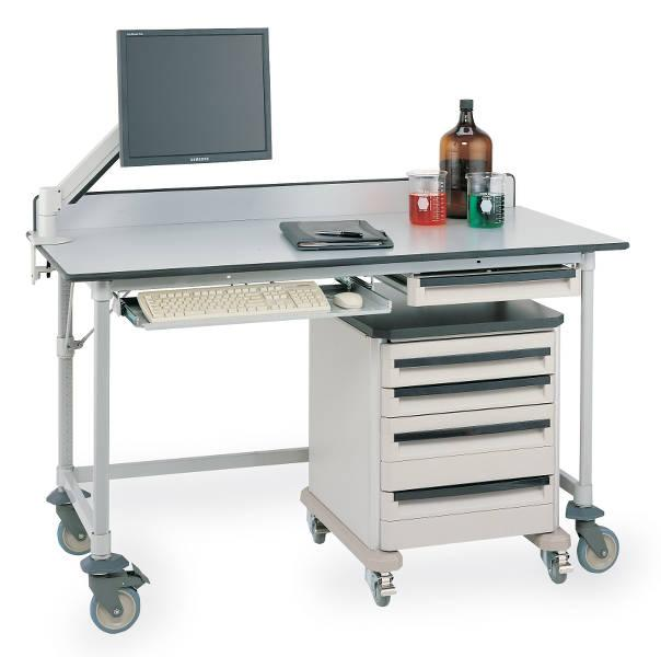 Metro Polymer Worktables with Gray Phenolic Top and 3-Sided Frame Model No. LTM60XUPG3 (shown with accessories, casters and Starsys cart)