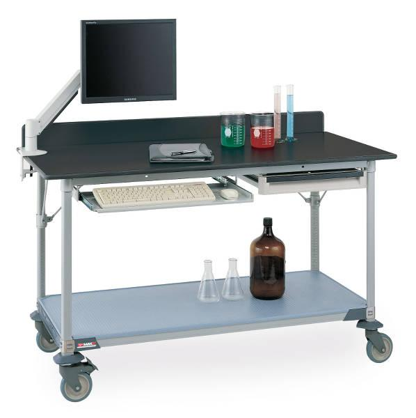 Metro Polymer Worktables with Gray Phenolic Top and Solid MetroMax i Shelf Model No. LTM60XPG3 (shown with backsplash, accessories and casters)