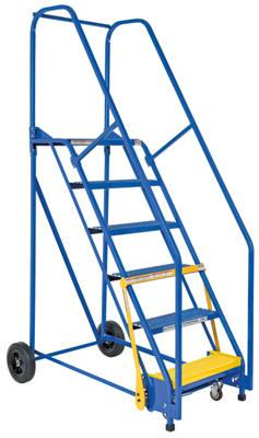 Vestil Rolling Warehouse Ladder Model No. LAD-6-14-P with LAD-GATE-58 option