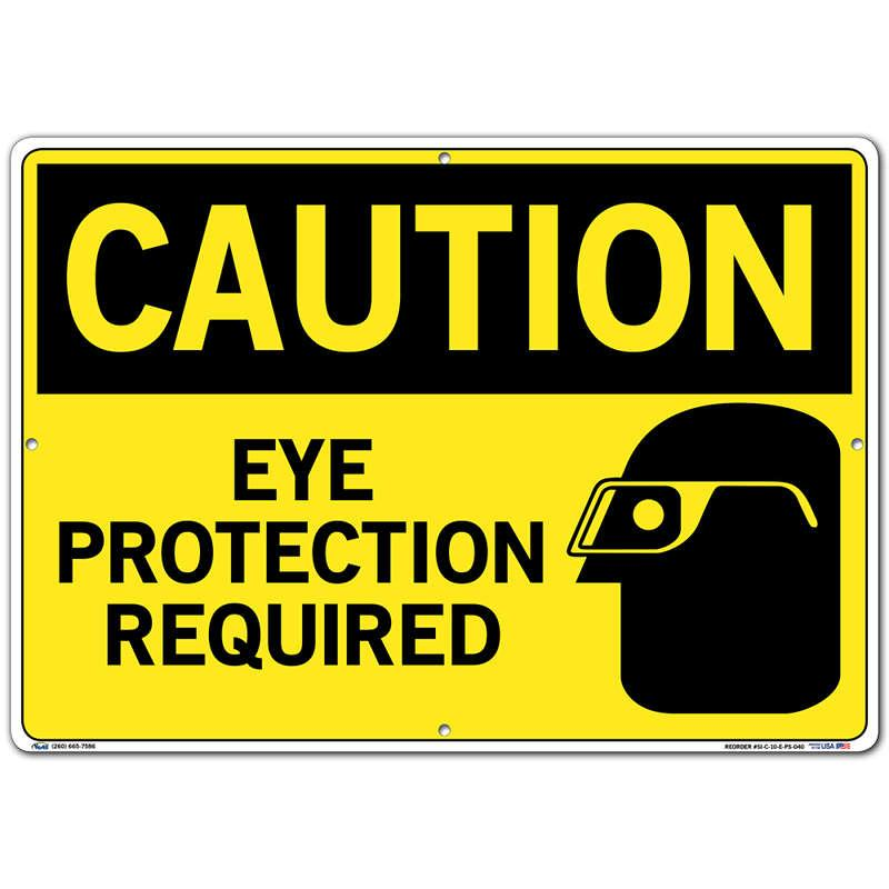 Vestil Sign - Caution Eye Protection Required