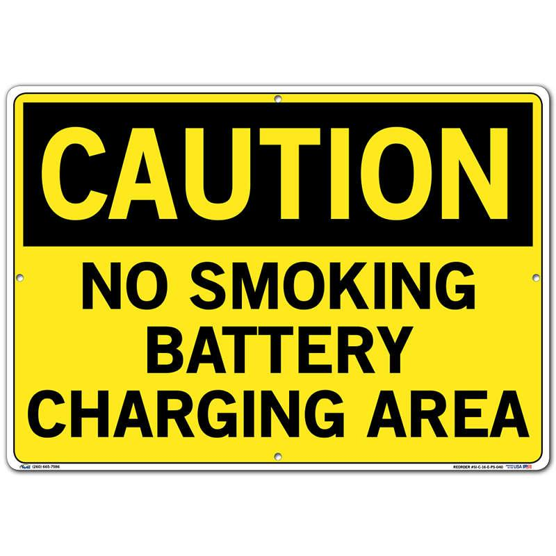 Vestil Sign - Caution No Smoking Battery Charging Area