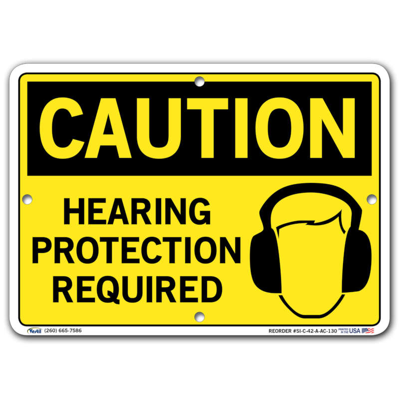 Vestil Caution Hearing Protection Required