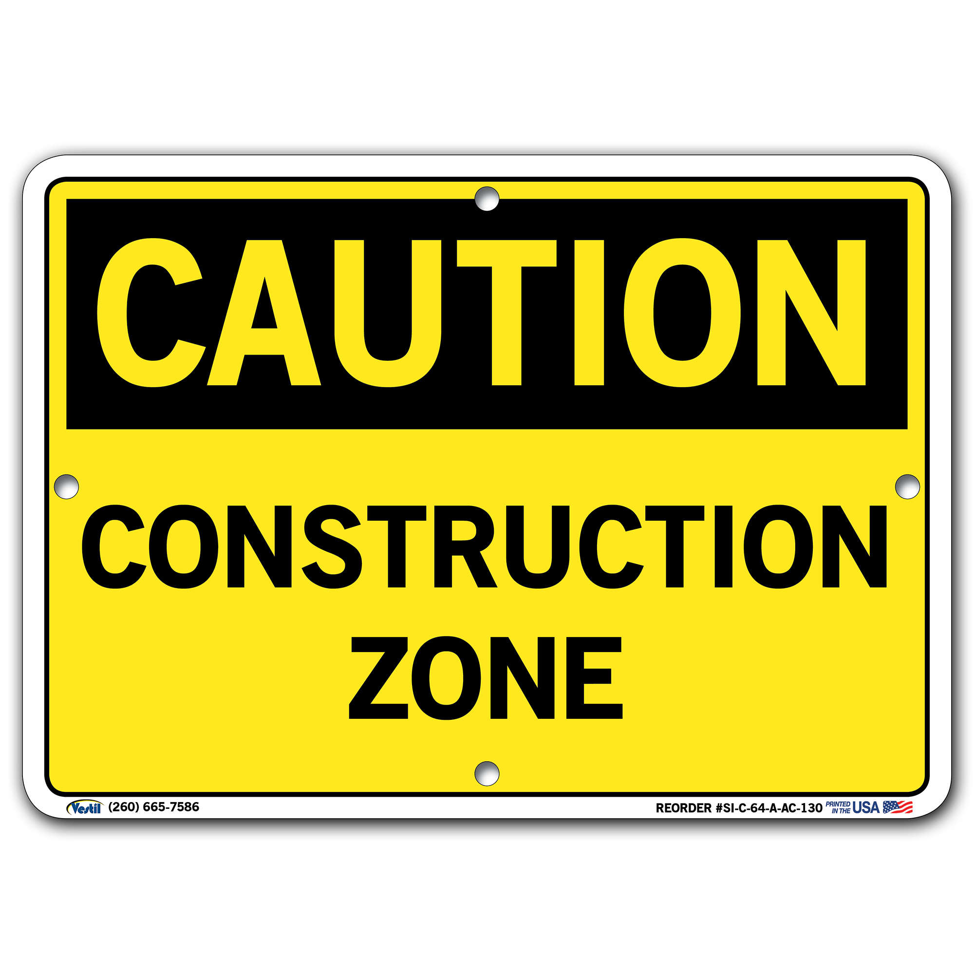 Vestil Caution Construction Zone