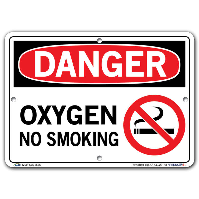 Vestil Danger Oxygen No Smoking