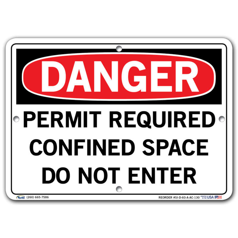 Vestil Danger Permit Required Confined Space Do Not Enter