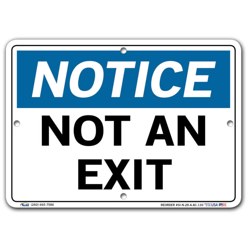 Vestil Notice Not an Exit